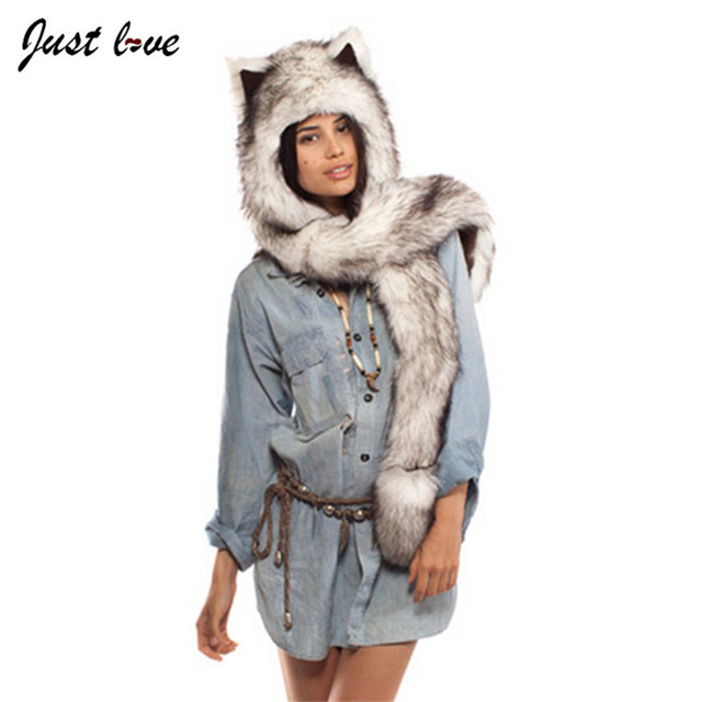 Black Cat Full Animal Hood Hoodie Hat Faux Fur 3 In 1 Function Paw Mittens Gloves  Women Winter Muti-function Hats with Gloves