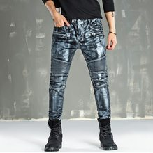 Hip-hop Brand Graffiti Biker Jeans Mens Denim Distressed Masculina Rock Washed Paint Gold Coating Motorcycle Locomotive Jeans