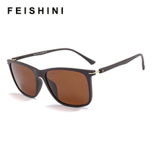 FEISHINI High Quality TR90 EYEGlasses Men Black Vintage 13g Plastic Titanium Rectangle Sunglasses Man Polarized Brand Designer