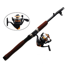 2.1m Fiberglass Telescope Baitcasting Fishing Rod And Reel Fly Fishing Casting Spinning Fishing Rod Combo