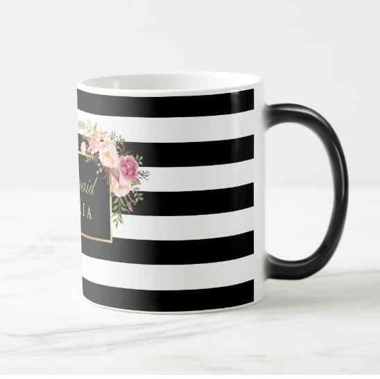 d4469023817 ... New Stylish Bridesmaid Personalised Floral Magic Mug Elegant Black  White Stripe Bridal Party Gift Custom Wedding