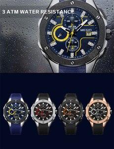 Image 3 - Relogio Masculino MEGIR mężczyźni oglądać najlepsze luksusowe marki Chronograph kalendarz zegarek sportowy wojskowy armia guma mężczyzna zegar 2053