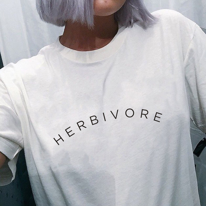 Herbivore T-Shirt Vegetarian Shirt Graphic Tee Black Cotton T Shirt Women Short Sleeve T Shirts Vegan Top Tees Summer Lady Tops 13
