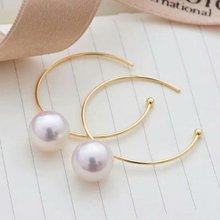 shilovem 18k yellow gold Natural  freshwater pearls stud Earrings fine Jewelry new round women trendy wedding  gift yz8.5-900zz цена в Москве и Питере