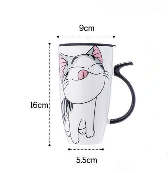 Image 5 - 600ml Cute Cat Ceramics Coffee Mug With Lid Large Capacity Animal Mugs creative Drinkware Coffee Tea Cups Novelty Gifts milk cup-in Mugs from Home & Garden