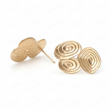 10PCS 22*15MM 24K Champagne Gold Color Brass Curl Pattern Stud Earrings High Quality Diy Jewelry Findings Accessories