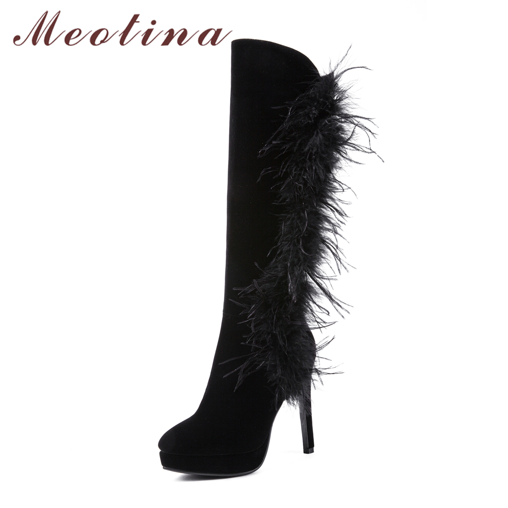 7334fc67392 Meotina Winter Boots Shoes Platform High Heel Long Boots Sexy Feather Knee High  Boots Black Female ...