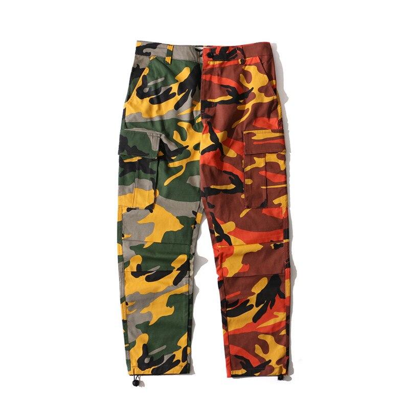 Rosa e Arancio Camo Pantaloni Con Tasche Donne di Modo Camouflage Mutanda A Vita Alta Hiphop Ragazze Pantalone Militare Jogger Danza Pant