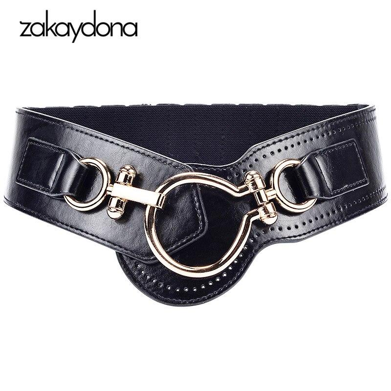 Zakaydona Women Belts Cummerbunds Elastic Belt Female Pu Leather Dress Waist Belt Vintage Black Wide Cummerbund 80CM 2001