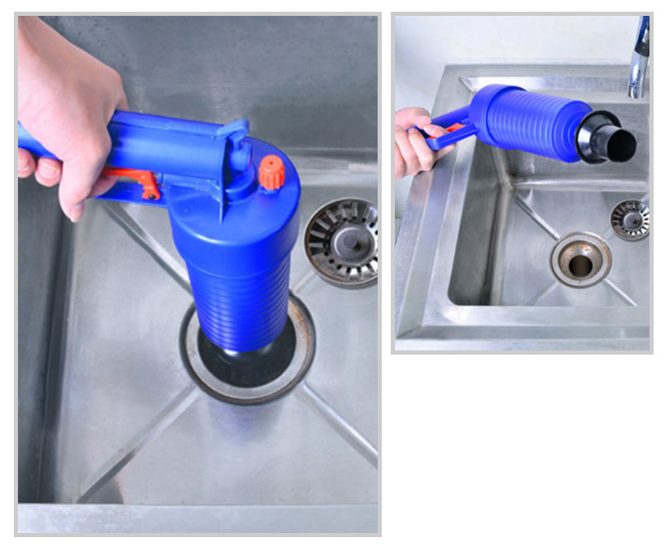 New High Pressure Powerful Manual Sink Plunger Home Air Drain Blaster PumpGunCleanerOpener Plastic Unclog Toilet Plunger     _10