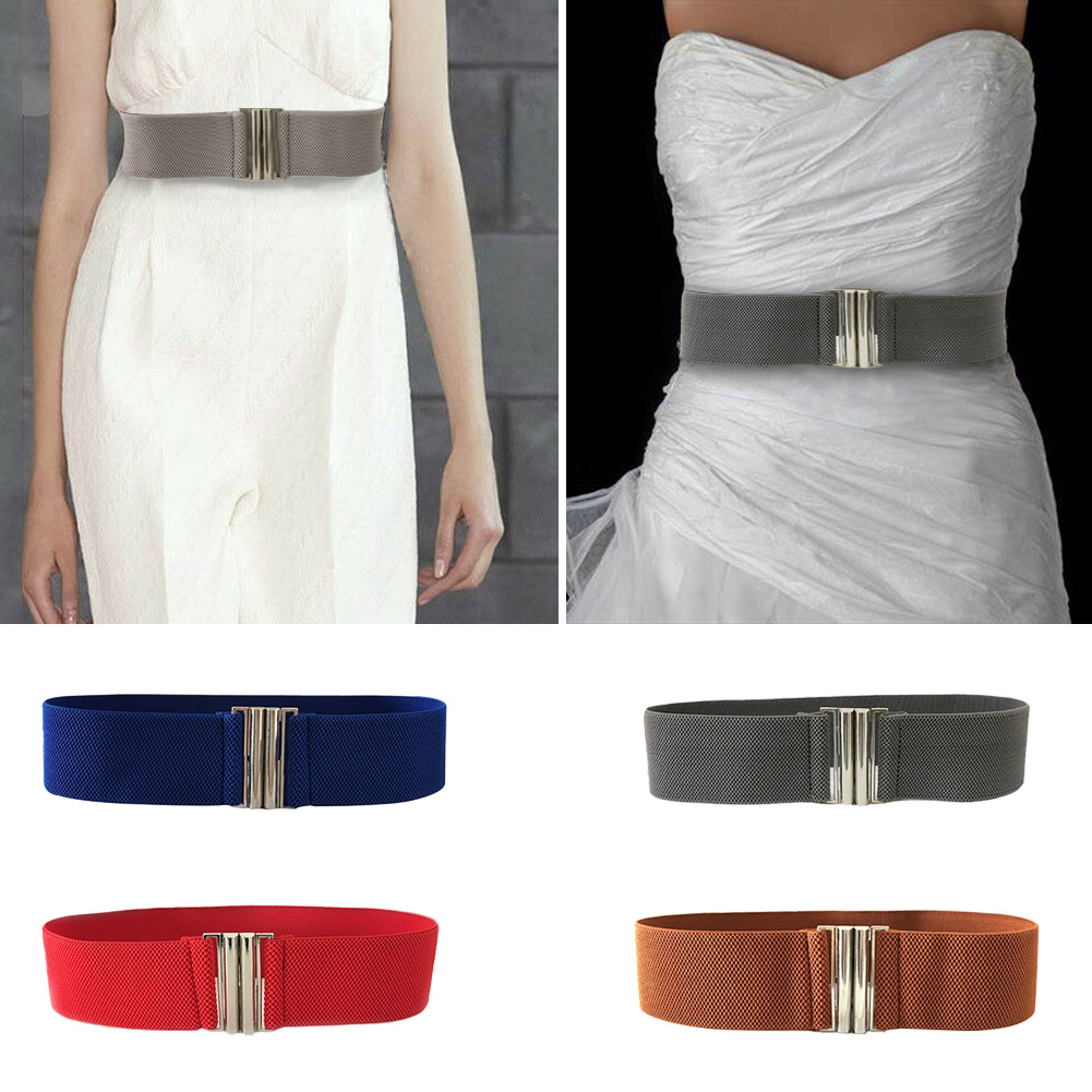 Korean Style Metal Durable Ladies Buckle Trimmer Accessories Stretch Waistband Women Belt Solid Soft Elastic Waist Fashion