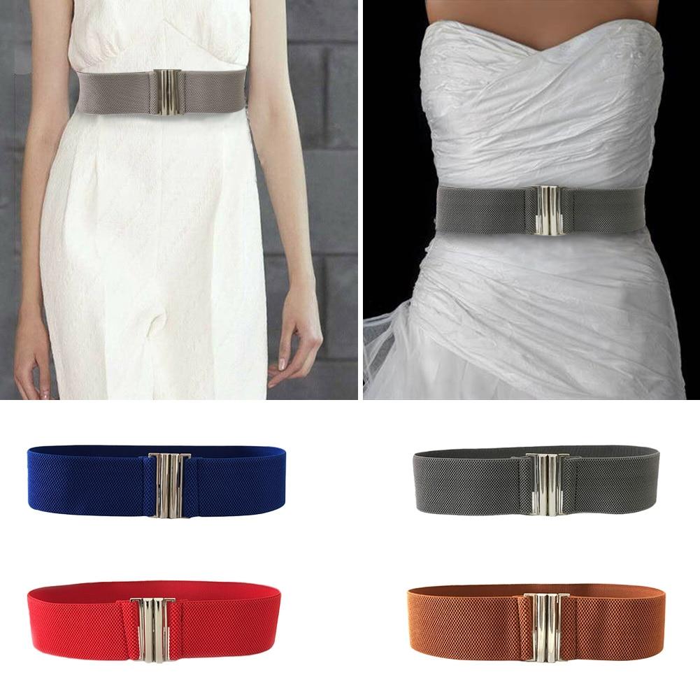Korean Style Metal Durable Ladies Buckle Trimmer Accessories Stretch Waistband Women Belt Solid Soft Elastic Waist Fashion