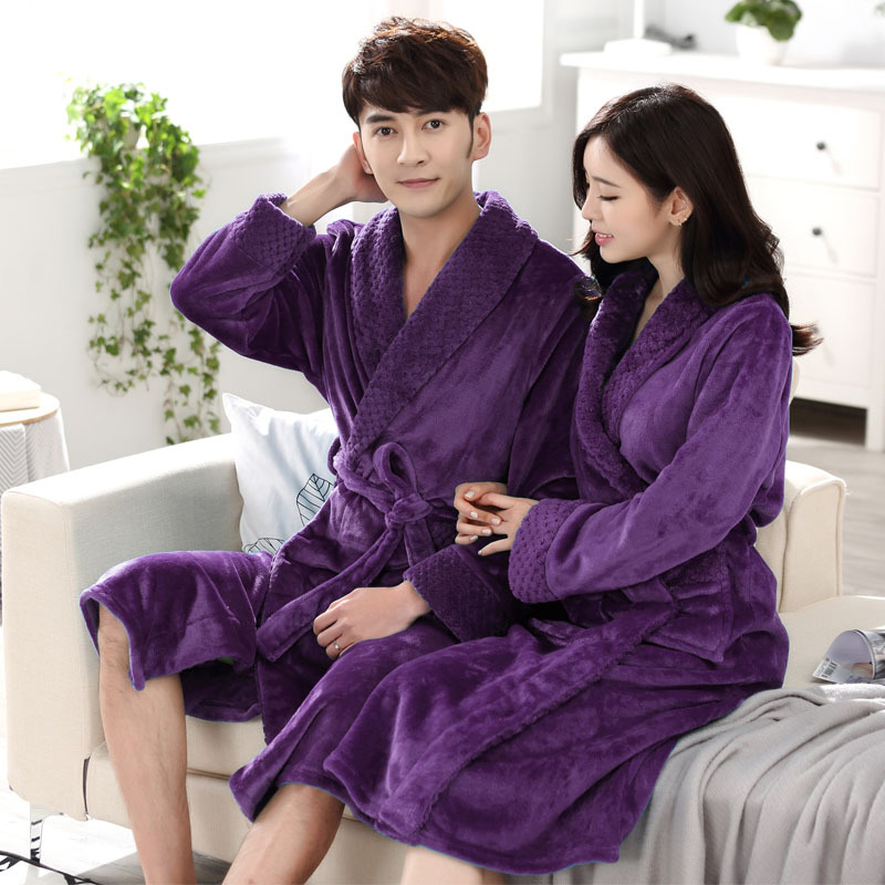 Couples Bathrobe Flannel Thick Warm Winter Robes Long Sleeve Man And Women Robe Sleepwear Home Clothes Bath Robes