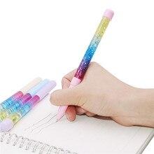 50 pçs bonito gel caneta 0.5mm vara de fadas caneta esferográfica deriva areia glitter cristal caneta cor arco íris criativo bola caneta crianças glitter
