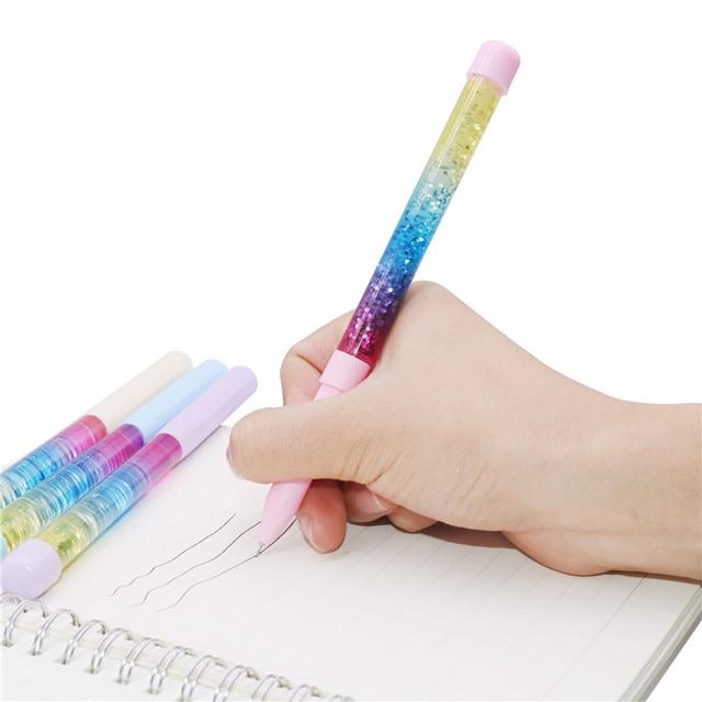 50 pcs Cute gel pen 0.5mm Fairy Stick Ballpoint Pen Drift Sand Glitter Crystal Pen Rainbow Color Creative Ball Pen Kids Glitter