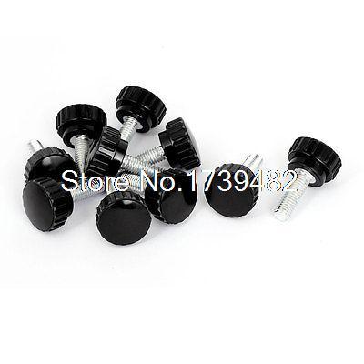 M8 x 25mm Male Thread Plastic Knurled Head Clamping Knob Jig Black 10pcs 12 x black 5mm m5 male thread dia plastic screw on round knurled knob