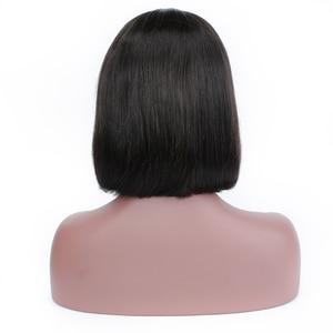 Image 4 - ポーカーフェイスボブかつらショートレースフロントかつら人毛ブラジルストレートレースの前部かつら女性髪