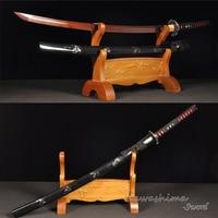 Red Blade Forged Damascus Folded Steel Real Samurai Sword Handmade Full Tang Japanese Katana Sharpness Edge Black White Sheath