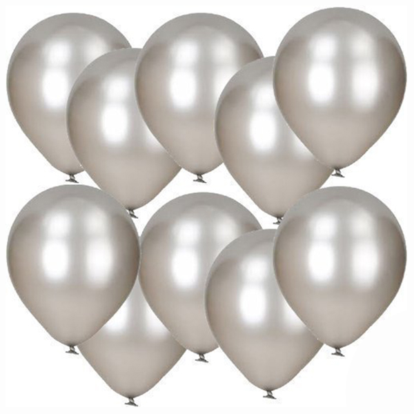 30 Pack Of 12 inch Silver Metallic Emulsion Balloons