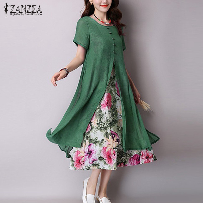 Zanzea 2017 mujeres vintage dress o cuello de manga corta dos capas de Alta Divi