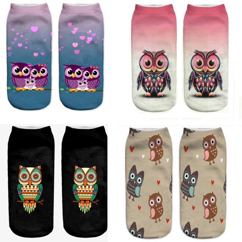 Cartoon 3D Print Little Owl   Socks   Sale Fashion Cute Cartoon Ankle Harajuku Emoji Girls Hosiery Low Cut   Sock