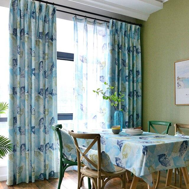 blau gelb fern blatt grün blackout vorhänge für wohnzimmer ... - Wohnzimmer Blau Gelb