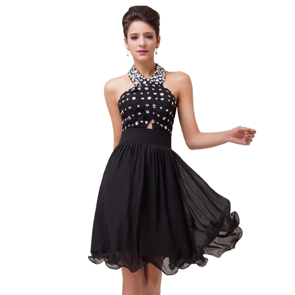 Halter Beading Knee Length Short Cocktail Dress Chiffon Coctail Gown ...
