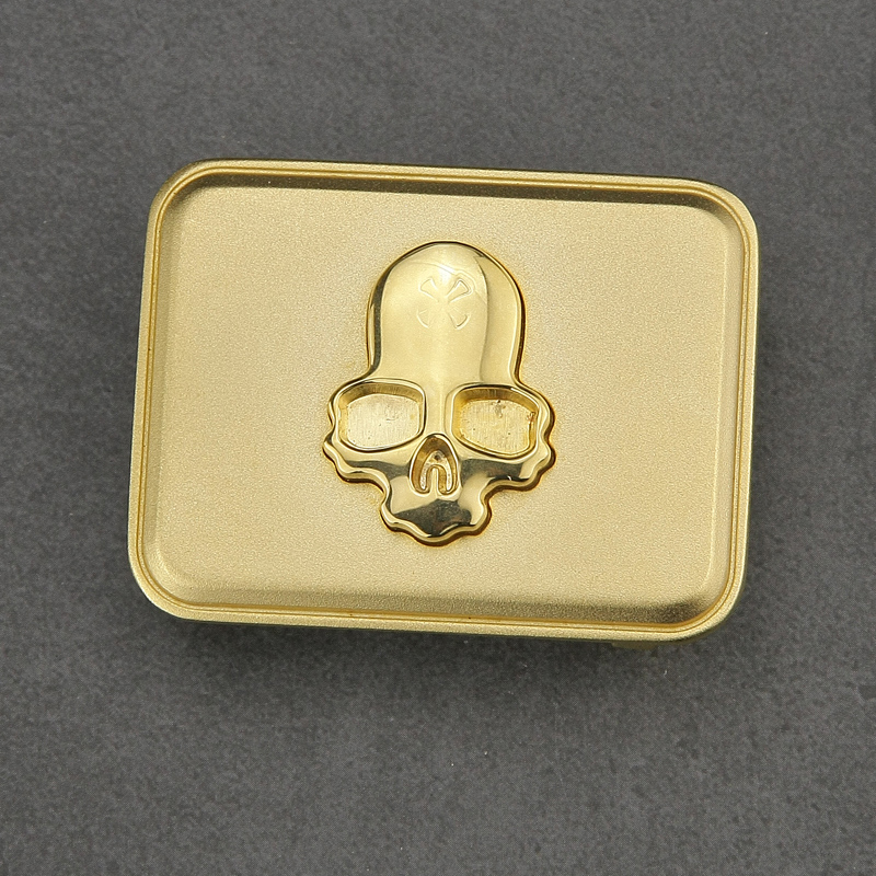 Copper Belt Buckle For Belt Men Skull Slide Buckle Golden Silvery Personality Buckle Fashion