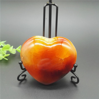 Red Orange WHITE CARNELIAN AGATE Crystal Heart Healing Quartz Crystal Fngshui Home Decoration + Stand