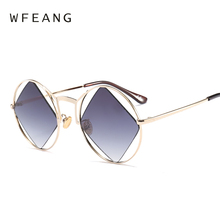 WFEANG New Polygon Sunglasses Women Men Brand Designer Vintage Clear Sun Glasses Sexy Fashion Eyewear