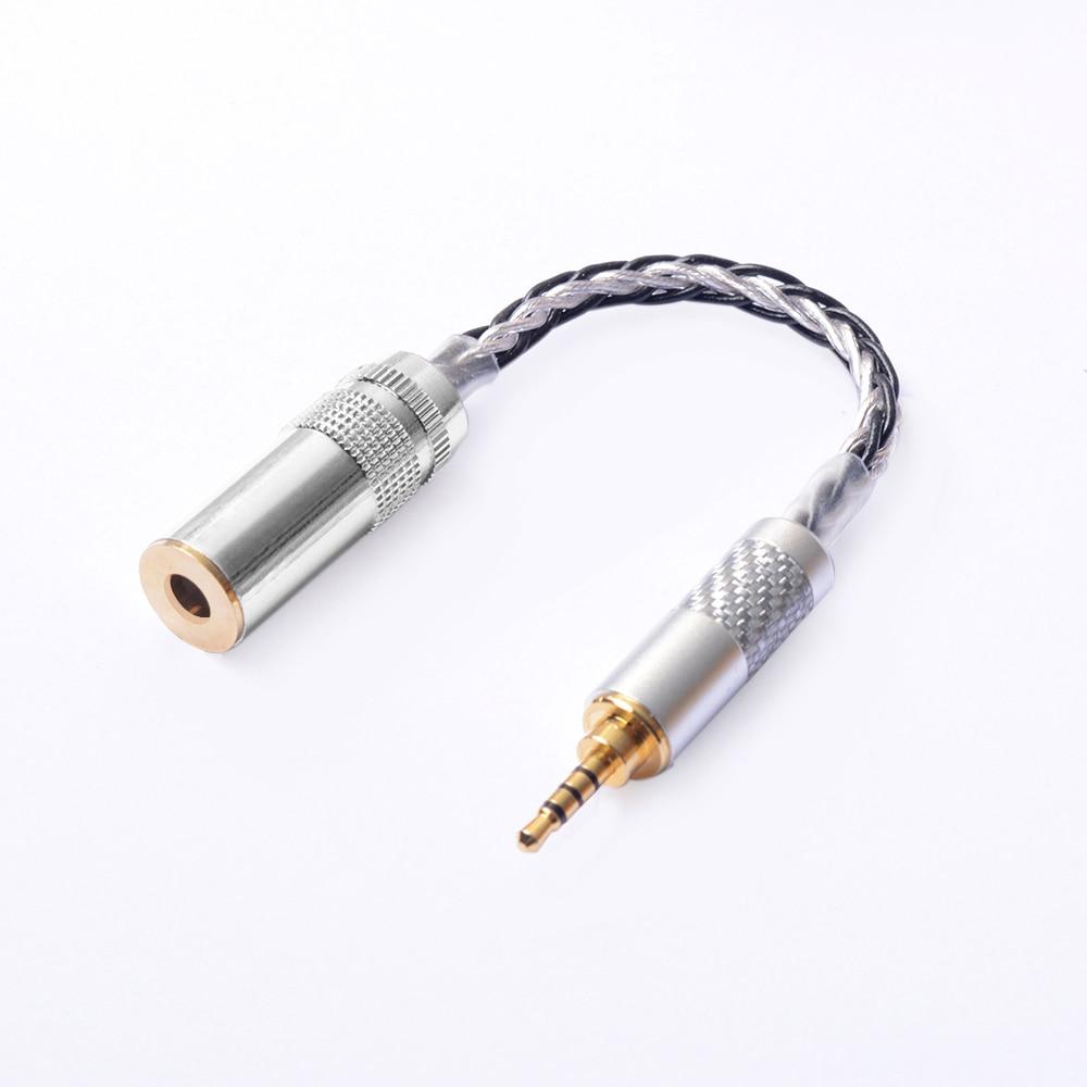 OKCSC OFC Adaptateur 2.5mm Interface Mâle 4.4mm Équilibré Femelle Prise Audio Stéréo Câble 8 Noyaux pour SONY PHA-2A TA-ZH1ES NW-WM1Z