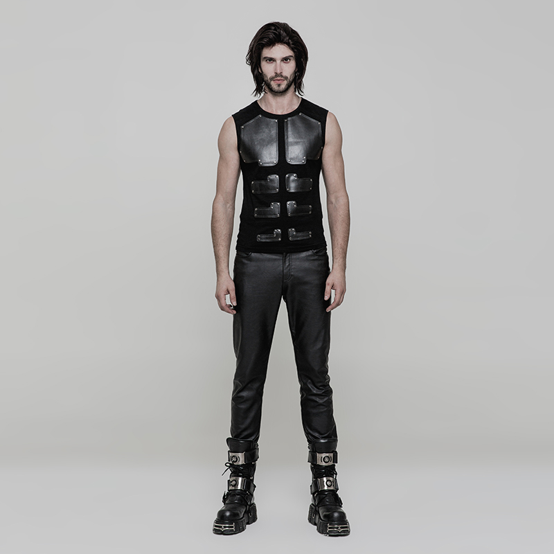 Image 4 - PUNK RAVE Punk Rock PU Leather Muscles Arrayed Warriors Skinny  Sleeveless Men T shirt Elastic Cotton Knitted Tops Tees Clothingmen  t-shirtt-shirt ment-shirt men cotton