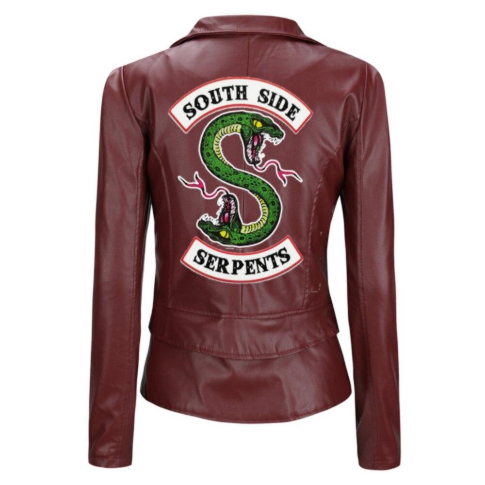 Riverdale South side Leather Jacket Women Bomber Jacket Motorcycle Jackets short slim Coat