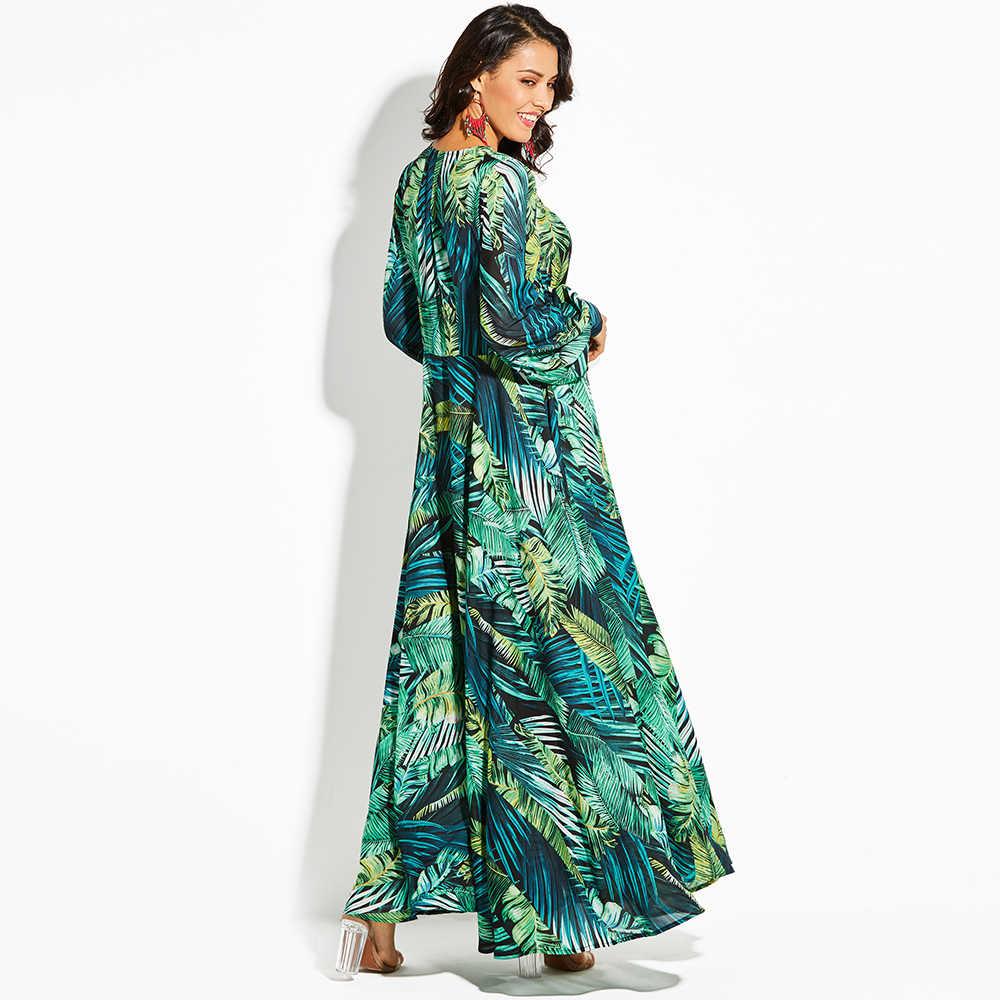 fe9ae87009db5 2018 New women maxi dress boho Tropical v neck lace up green print plus  size dress summer dress beach casual holiday long dress