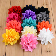 10pcs Candy Color Chiffon DIY Flower Sharp Angled Flowers Hair Accessories Boutique Tiaras Wedding Party Decoration