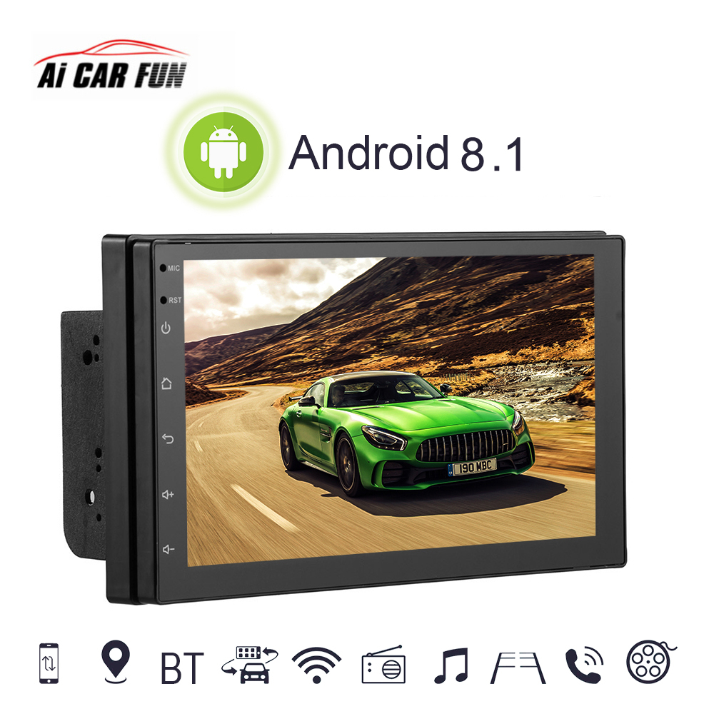 Voiture Multimédia Lecteur 2 Din Voiture Radio MP5 GPS Android 8.1 Avec Vue Arrière Caméra Bluetooth Appel Téléphone Musique Tactile écran Bouton
