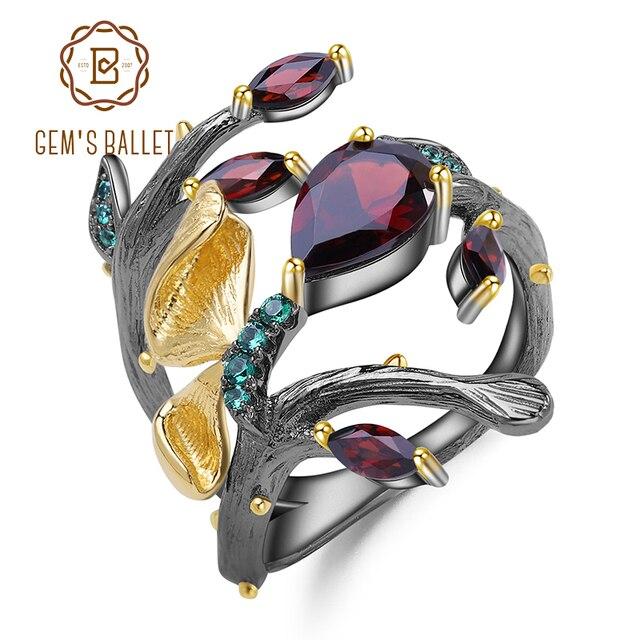GEMS balet 925 srebro oryginalny Handmade motyl na gałęzi pierścień 2.37Ct naturalny czerwony granat pierścienie dla kobiet Bijoux