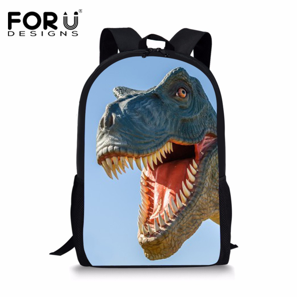 FORUDESIGNS Jurassic Dinosaur Printing Schoolbag Backpack Teenagers Girls Boys Cute School Bag Kids Children Harajuku Book Bag fnaf cute maine coon cat printing backpacks for kids cartoon school bags children teenagers boys girls schoolbag child book bag