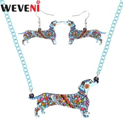 WEVENI akrylowe oryginalny długowłosy jamnik pies naszyjnik kolczyki komplety biżuterii Hot Trendy biżuteria hurtowych dla kobiet