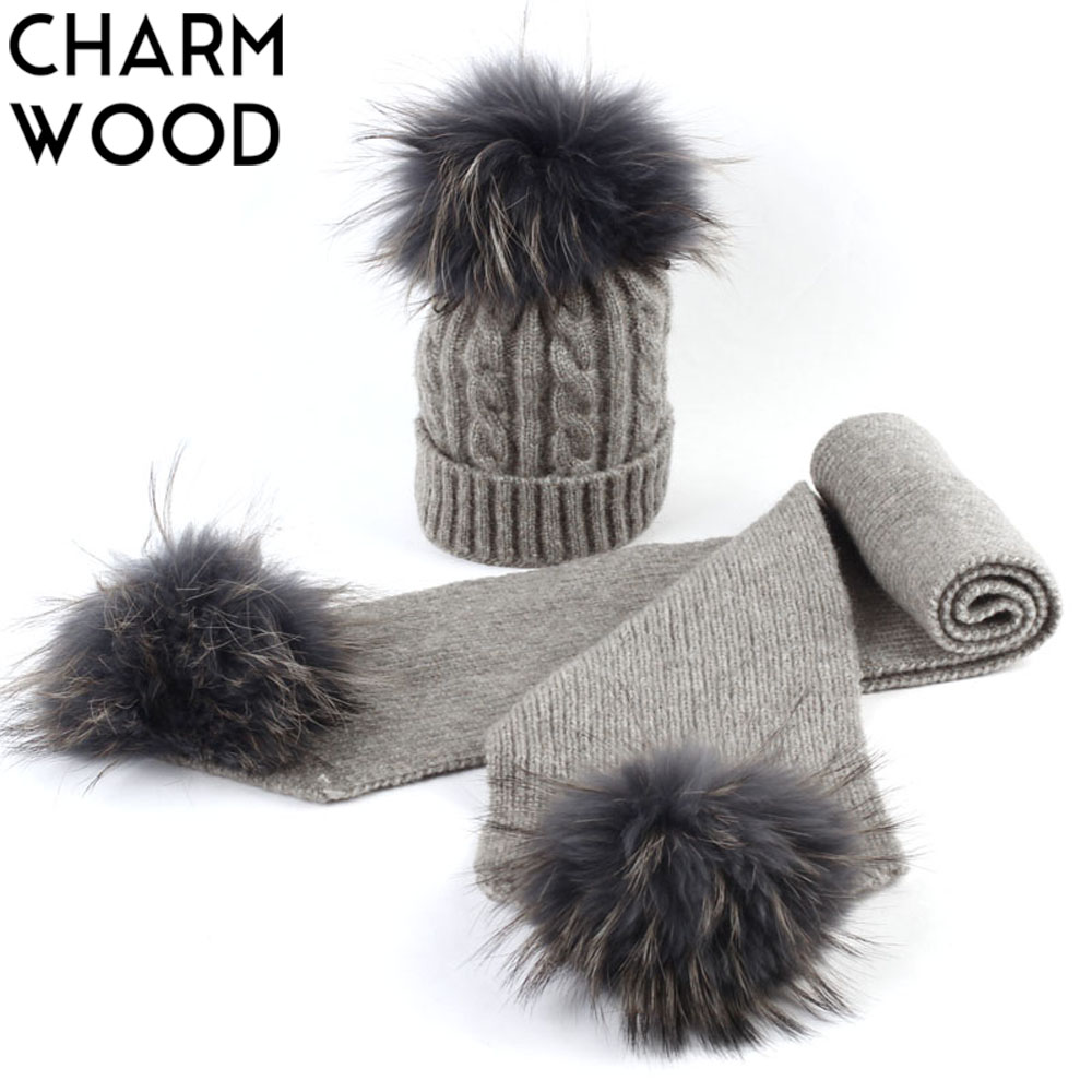 2 Pcs Set Boys And Girls  Cashmere Knitted Beanie And Scarf With Double Real Pompoms Kids Slouchy Hats With Raccoon Pompoms