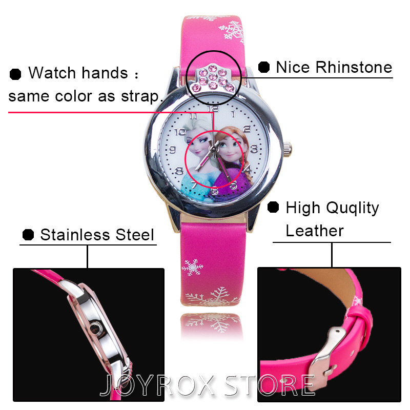 JOYROX Hot Princess Elsa Mønster Barn Watch Mote Crystal Cartoon - Barneklokker - Bilde 6