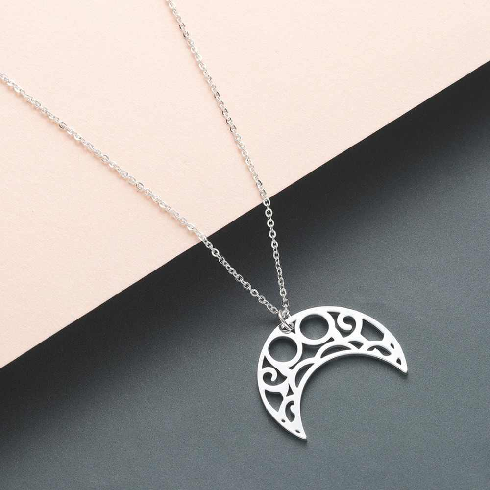 Chandler Boho Crescent Moon Star Neckless Stainless Steel Night Sky Islamic Muslim Pendant Necklace Statement Fashion Jewelry