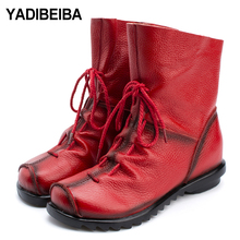 2019 New Genuine Leather Snow Boots For Women Boots Soft Cowhide Women's Shoes Women Winter Boots Female Winter Mid-calf Boots