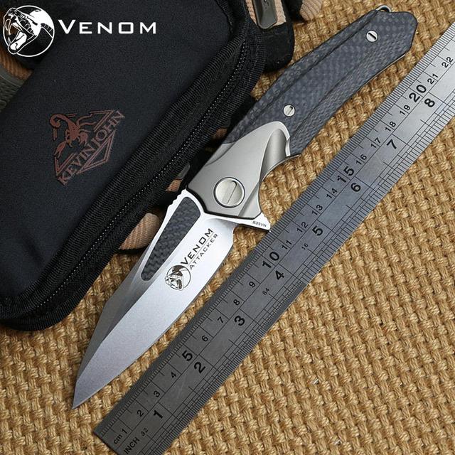 Venom Attacker by Kevin John, Folding Ball bearing Flipper Knife M390 Titanium carbon fiber