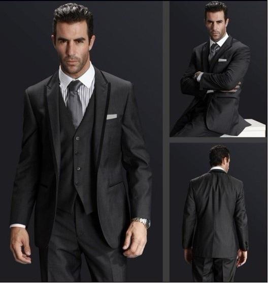 Back Vent Groom Tuxedo Charcoal Grey Groomsmen Peak Lapel Wedding Dinner Suits Best Man Bridegroom Jacket Pants Tie Vest B278 In From Men S Clothing