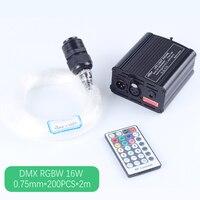 DMX 16W RGBW LED Plastic Fiber Optic Star Ceiling Kit Lights 200pcs 0 75mm 2M Optical