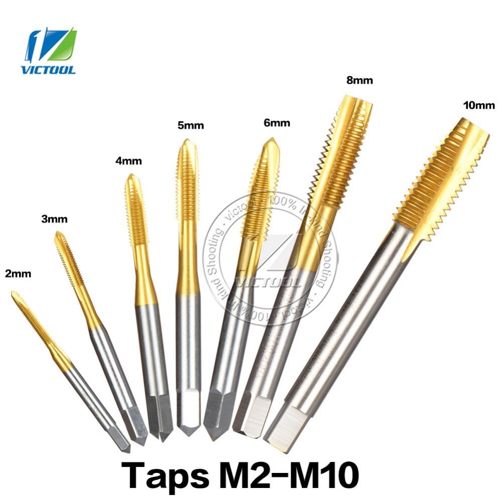 7pcs/lot HSS Hand Screw Thread Plug Taps M2 M3 M4 M5 M6 M8 M10 High Speed Steel Tapping Screw Titanium Machine Plug Point Taps 30pcs mini taps dies set screw thread plugs taps metric hss m1 m2 5 screw taps with tap wrench hand tools
