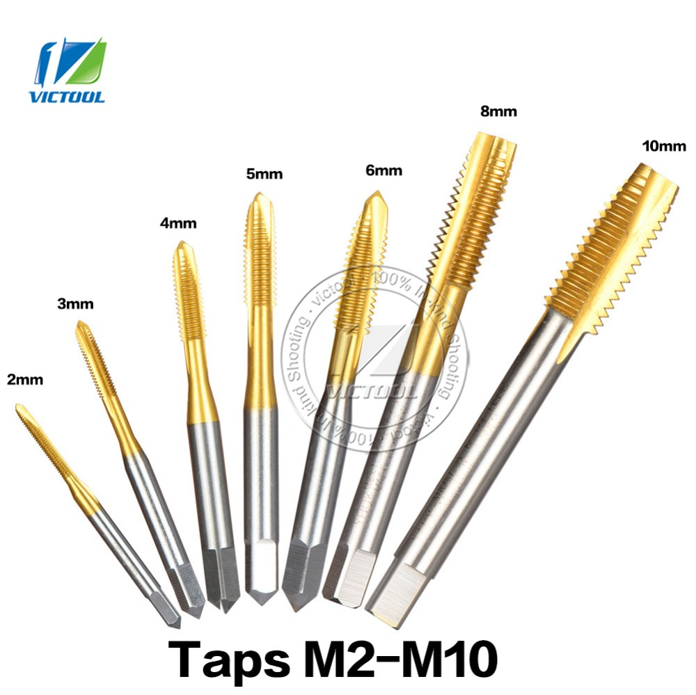 7pcs/lot HSS Hand Screw Thread Plug Taps M2 M3 M4 M5 M6 M8 M10 High Speed Steel Tapping Screw Titanium Machine Plug Point Taps 20pcs m3 m12 screw thread metric plugs taps tap wrench die wrench set