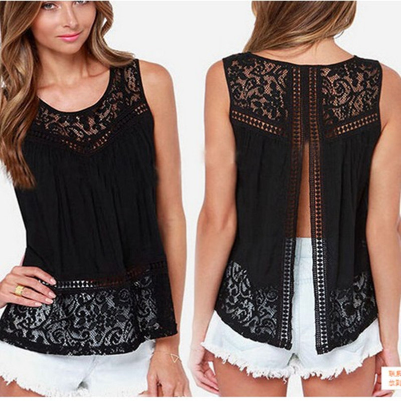 Hot Sale 2018 Fashion Summer Women Chiffon Crochet Lace Vest   Blouse     Shirt   Sexy Open Back Sleeveless   Shirt   TankTops Black TT127