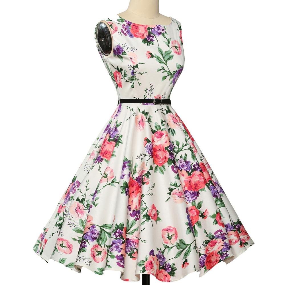 Wanita musim panas dress 2018 wanita floral retro vintage dresses 50 - Pakaian Wanita - Foto 3